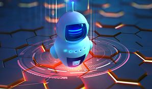 image of a chat bot in space