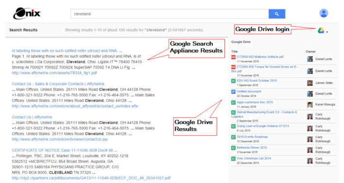 Federated Search Component for Google Drive